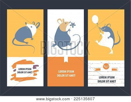 Freehand drawn silhouette small mouse.Wild rat.Concept image of symbol chinese happy new year 2020 on color background.Lunar horoscope sign.Vector sketch illustration. Three vertical banner.
