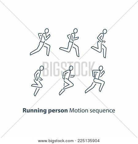 Running person side view line icon, motion sequence set, outline runner logo, marathon and triathlon running concept, vector thin stroke linear design