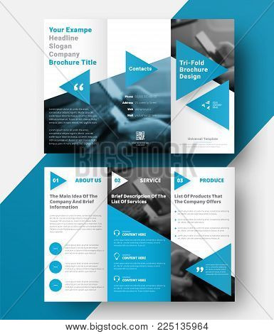 vector tri-fold brochure with a place for photos, diagonal elements and blue triangles for headings and quotes. Design of a folding universal flyer. Moderm tempalte