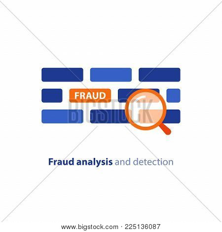 Fraud detection and analysis concept, vector flat icon