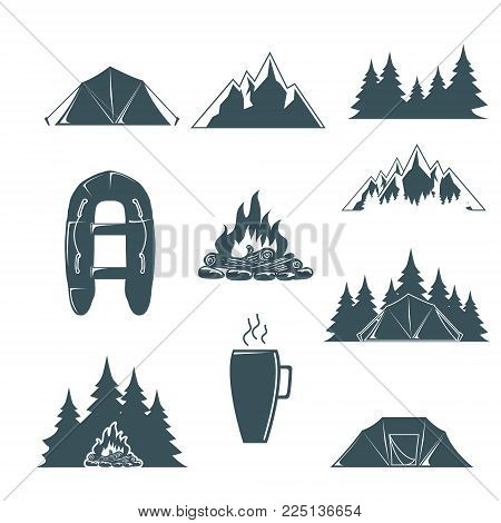 Summer camp with design elements. Camping and outdoor adventure emblems. Camping tent, forest silhouette. Vector illustration