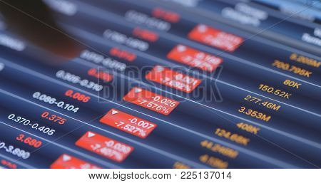 Recession of stock market on tablet computer