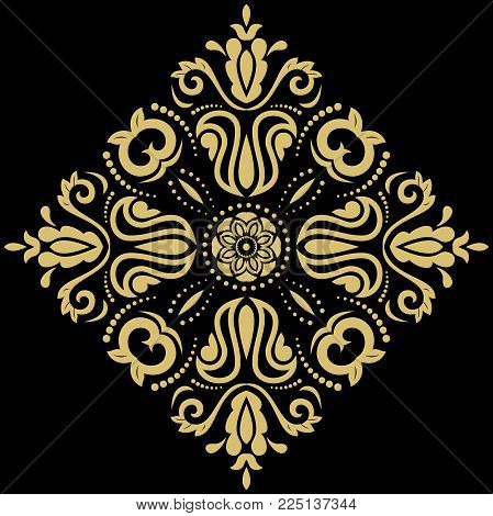 Oriental vector sqaure golden pattern with arabesques and floral elements. Traditional classic ornament. Vintage pattern with arabesques
