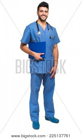 Male nurse full length portrait