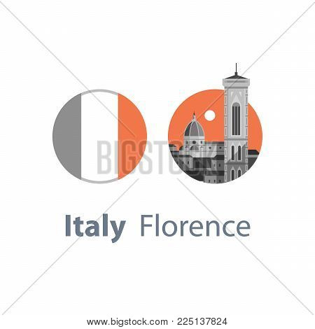 Italy, Florence symbol, travel destination, famous landmark, cathedral and tower view, Italian flag, tourism concept, vector icon, flat illustration
