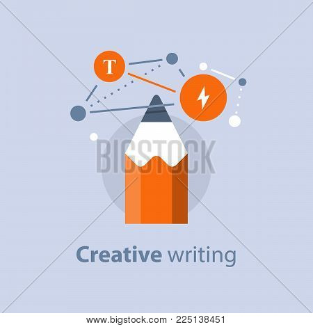 Creative writing, concept with pencil, storytellyng and copywriting, subject learning, design solution, vector icon, flat illustration