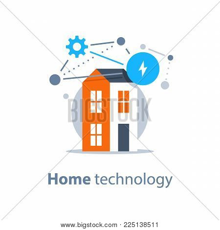 Smart home innovative technology, house control, improvement and security concept, vector illustration