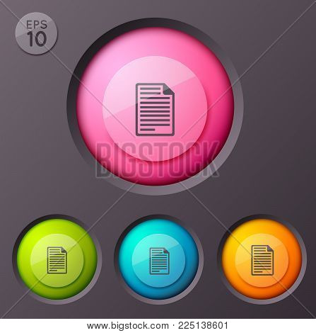 Business infographic concept with document page flat pictogram inscribed in four isolated colorful circle frames vector illustration