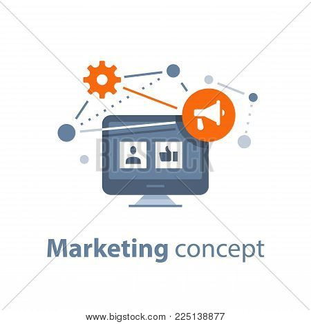 Marketing strategy, social media viral advertising, public relations, referral program, megaphone flat icon, vector illustration