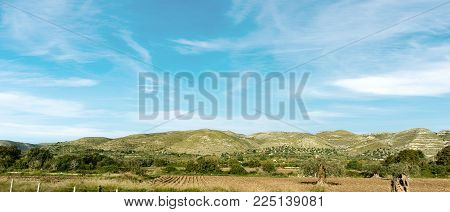 Typical hills of Sicily island near Syracuse (Siracusa), Italy, Europe