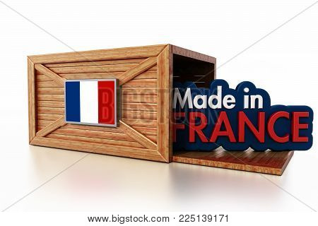 Made in France text inside cargo box with french flag. 3D illustration.