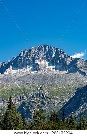 Peak Of Care Alto (3462 M) In The National Park Of Adamello Brenta Seen From The Val Di Fumo. Trenti