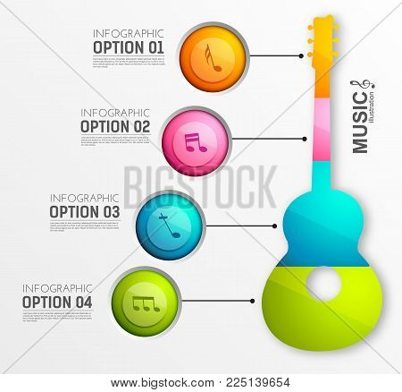Music infographic template with colorful four circles acoustic guitar and musical notes on light background vector illustration