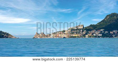 Cityscape Of Portovenere Or Porto Venere (unesco World Heritage Site), Seen From The Golfo Dei Poeti