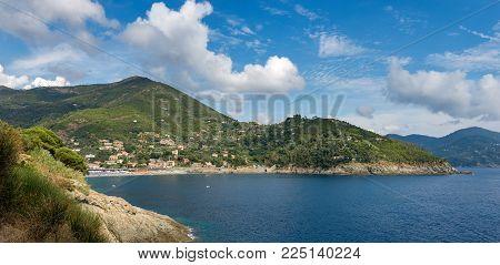 Panoramic View Of Bonassola With The Beach And Coastline, Ancient Village In The Liguria Region, La