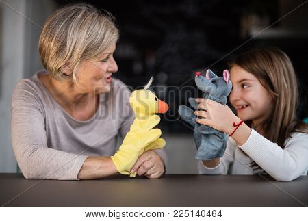 A small girl and her grandmother playing with hand puppets at home. Family and generations concept.