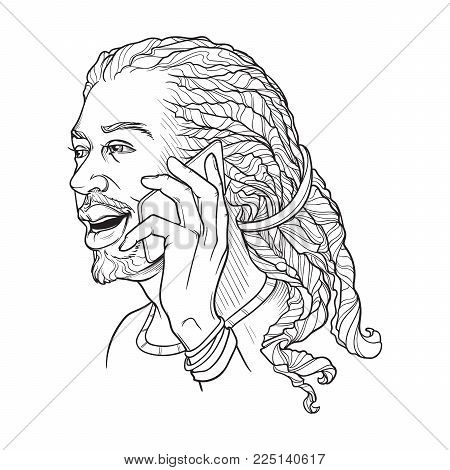 Afro-American young man with dreadlocks speaking on the phone and smiling. Black and white linear sketch isolated n white background. EPS10 vector illustration