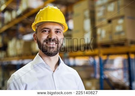 Portrait of a male warehouse worker or a supervisor. poster