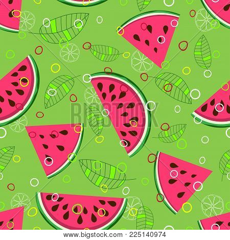 juicy fruit pattern with watermelon, leaves, circles and citrus background elements, fruit background with pink slices of watermelon on green