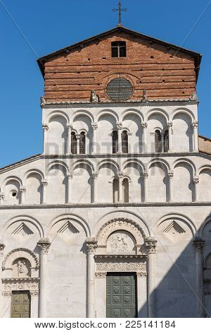 Detail Of The Church Of Santa Maria Forisportam In Pisan-romanesque Style (xii Century) In The Ancie
