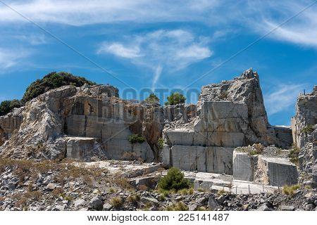 Marble Quarry (portoro) In The Island Of Palmaria In Porto Venere Or Portovenere, Liguria, Italy, Eu