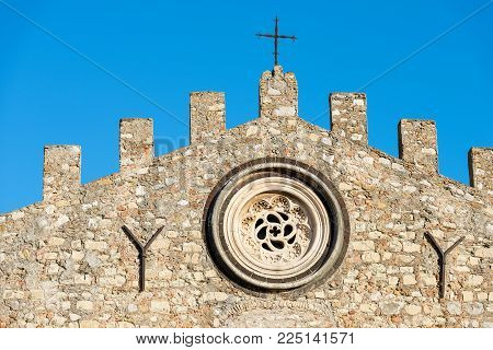 Closeup Of The Cathedral Of St. Nicholas (san Nicola Di Bari) - Xiii Century, In The Taormina Town,