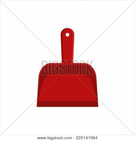 Flat red dustpan icon logo isolated on white background. Clean object - scoop for cleaning dust and debris, household equipment tool. Cleaning service vector stock illustration, housekeeping cleanness.