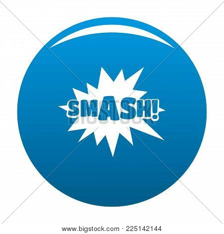 Comic boom smash icon vector blue circle isolated on white background