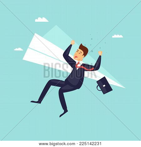 Businessman has fallen from a plane. Crisis, bankruptcy. Flat design vector illustration.