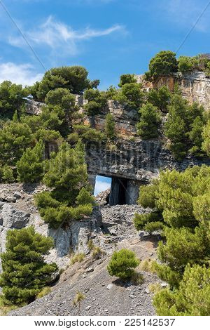 Marble quarry (Portoro) in the island of Palmaria in Porto Venere or Portovenere, Liguria, Italy, Europe