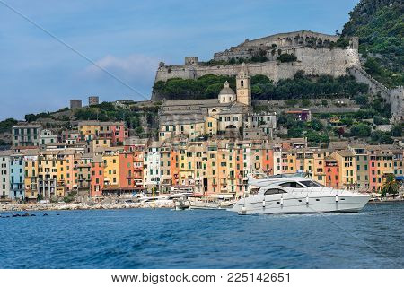 Cityscape Of Portovenere Or Porto Venere (unesco World Heritage Site), Seen From The Golfo Dei Poeti