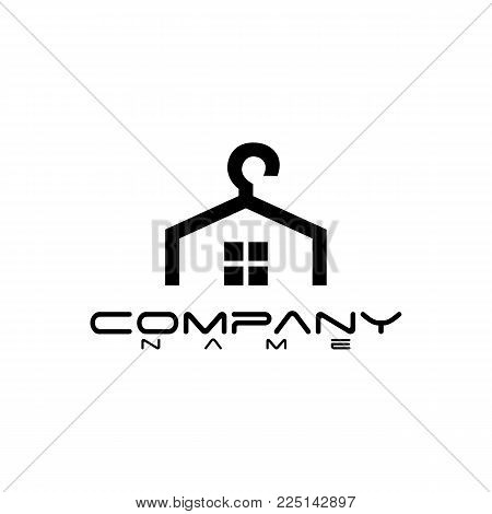 laundry logo concept whit hanger house shapes vector logo, easy to edit