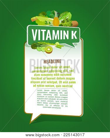 Vitamin K banner with place for text. Beautiful vertical vector illustration with caption lettering and top foods highest in vitamin K isolated on a bright green background. Useful design element.