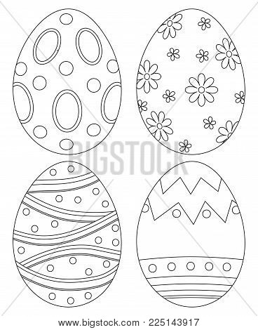 Black and white easter egg collection set poster. Coloring book page for adults and kids. Holiday vector illustration for gift card certificate banner sticker, badge sign, stamp, logo, icon label.