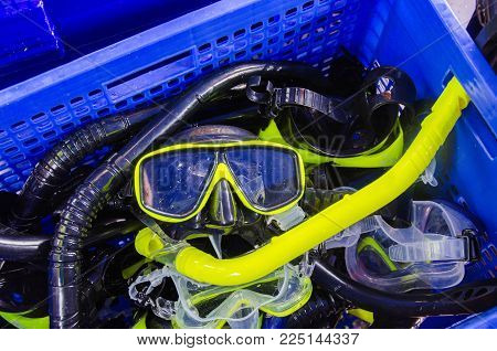 snorkeling mask in the basket for diving and snorkel trip in  the sea