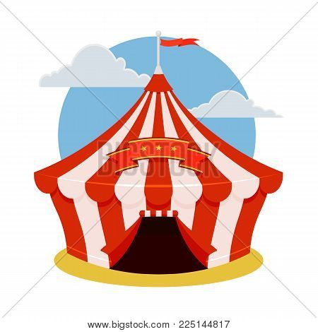 Circus tent icon. Cartoon illustration of circus tent. Vector isolated retro show flat icon for web.