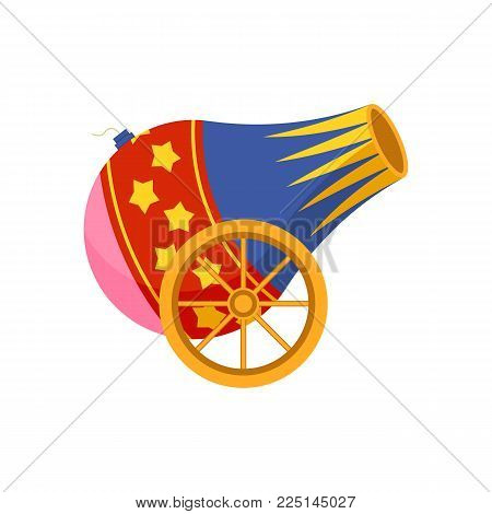 Circus cannon icon. Cartoon illustration of circus cannon. Vector isolated retro show flat icon for web.