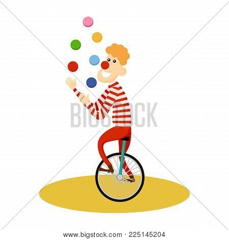 Circus juggler icon. Cartoon illustration of circus juggler. Vector isolated retro show flat icon for web.