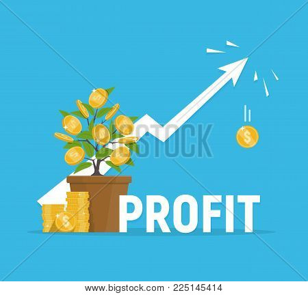 Profit concept. Financial growth. Investments and revenue increase. Vector illustration in flat style.