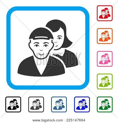 Joy People Pair vector icon. Human face has cheerful emotion. Black, grey, green, blue, red, pink color additional versions of people pair symbol in a rounded square. A man with a cap.
