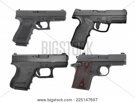 set of semi automatic 9 m.m handgun pistol isolated on white background