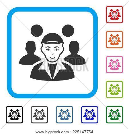 Glad Team Leader vector pictograph. Person face has enjoy expression. Black, grey, green, blue, red, orange color additional versions of team leader symbol inside a rounded squared frame.