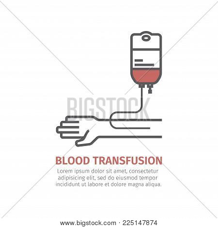 Logotype blood donation, help the sick and needy. dropper with a drop of blood. Web line icon.