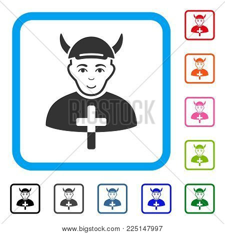 Enjoy Priest Devil vector pictogram. Human face has cheerful mood. Black, grey, green, blue, red, pink color versions of priest devil symbol inside a rounded squared frame. A male person with a cap.