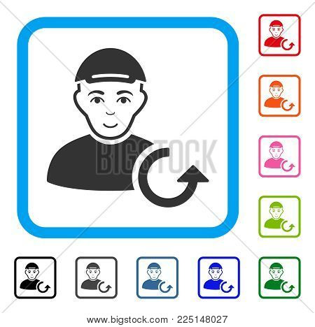 Enjoy Refresh Man vector pictogram. Human face has smiling feeling. Black, gray, green, blue, red, orange color versions of refresh man symbol inside a rounded rectangle. A person in a cap.
