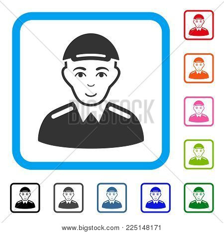 Glad Soldier vector pictogram. Person face has glad sentiment. Black, gray, green, blue, red, orange color additional versions of soldier symbol inside a rounded frame. A male person in a cap.