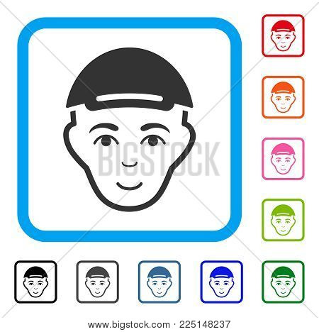 Enjoy Man Head vector icon. Human face has joy feeling. Black, grey, green, blue, red, orange color variants of man head symbol inside a rounded frame. A man with a cap.