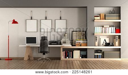 Modern home workplace with desk and bookcase - 3d rendering