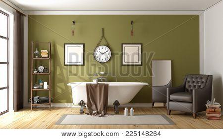 Green bathroom with retro bathtub - 3d rendering