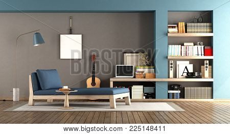 Blue and brown living room with day bed and wooden bookcase - 3d rendering